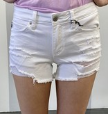 White Mid Rise Distressed Shorts