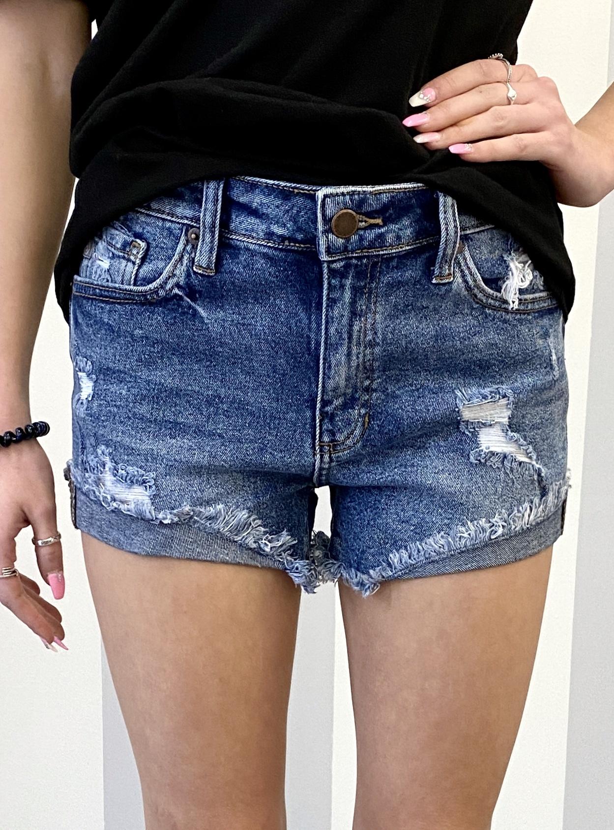 Med. Wash High Cuffed Side Shorts