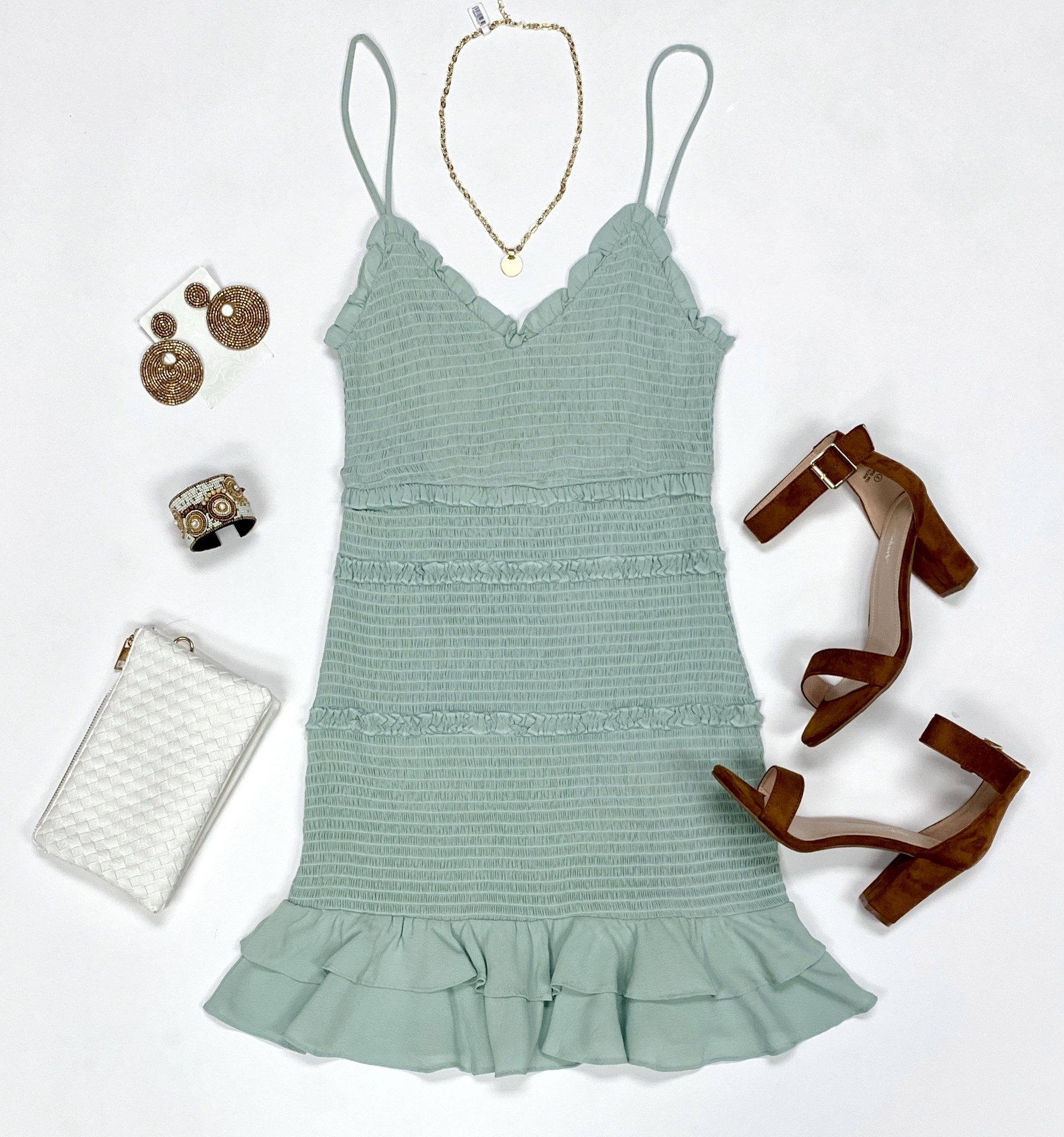 Double Mint Cinched Body Con Dress