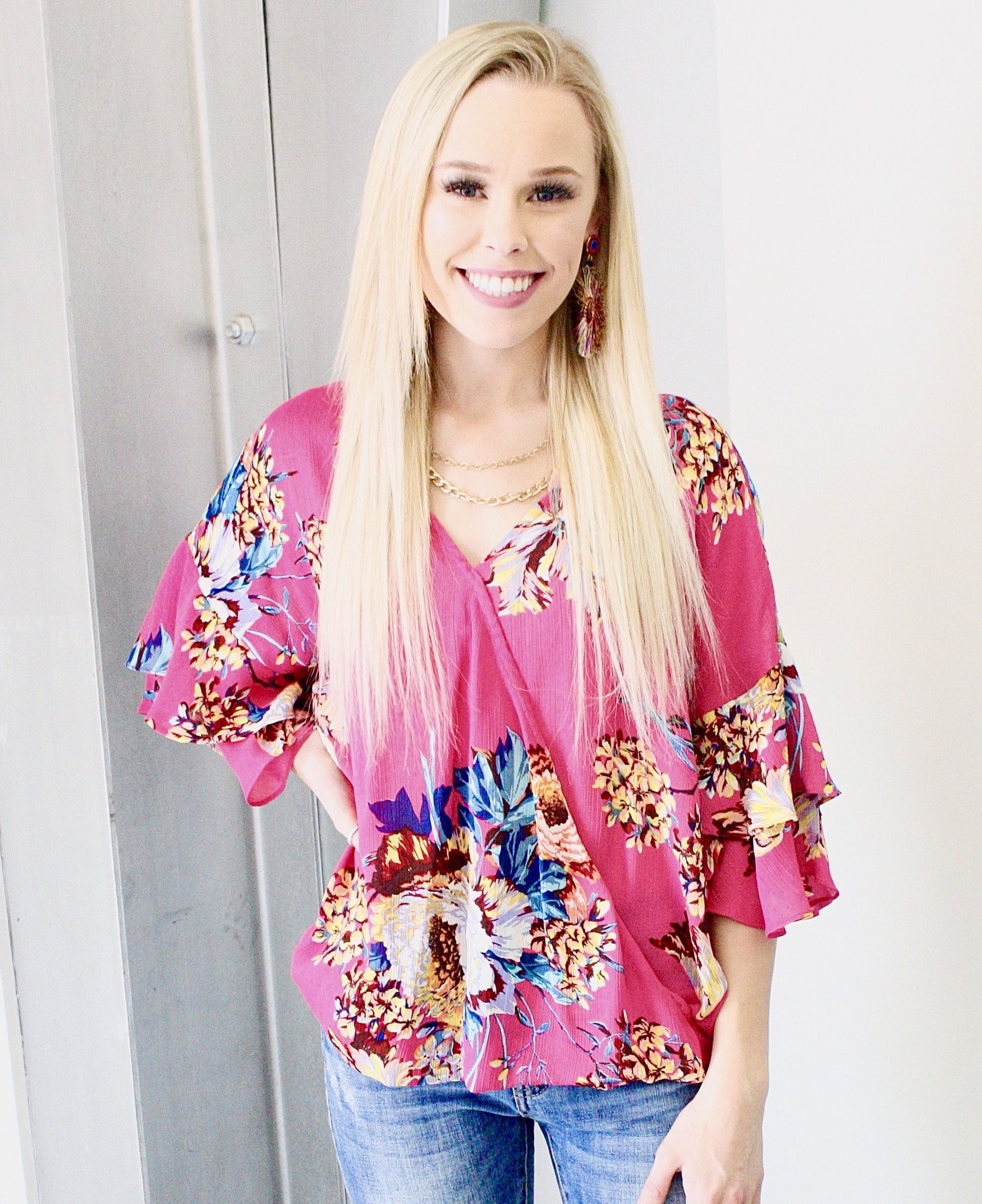 Hot Pink Mix Floral Crossover Top