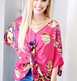 Hot Pink Mix Floral Twisted Back Top