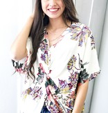 Off White Mix Floral Knotted Top