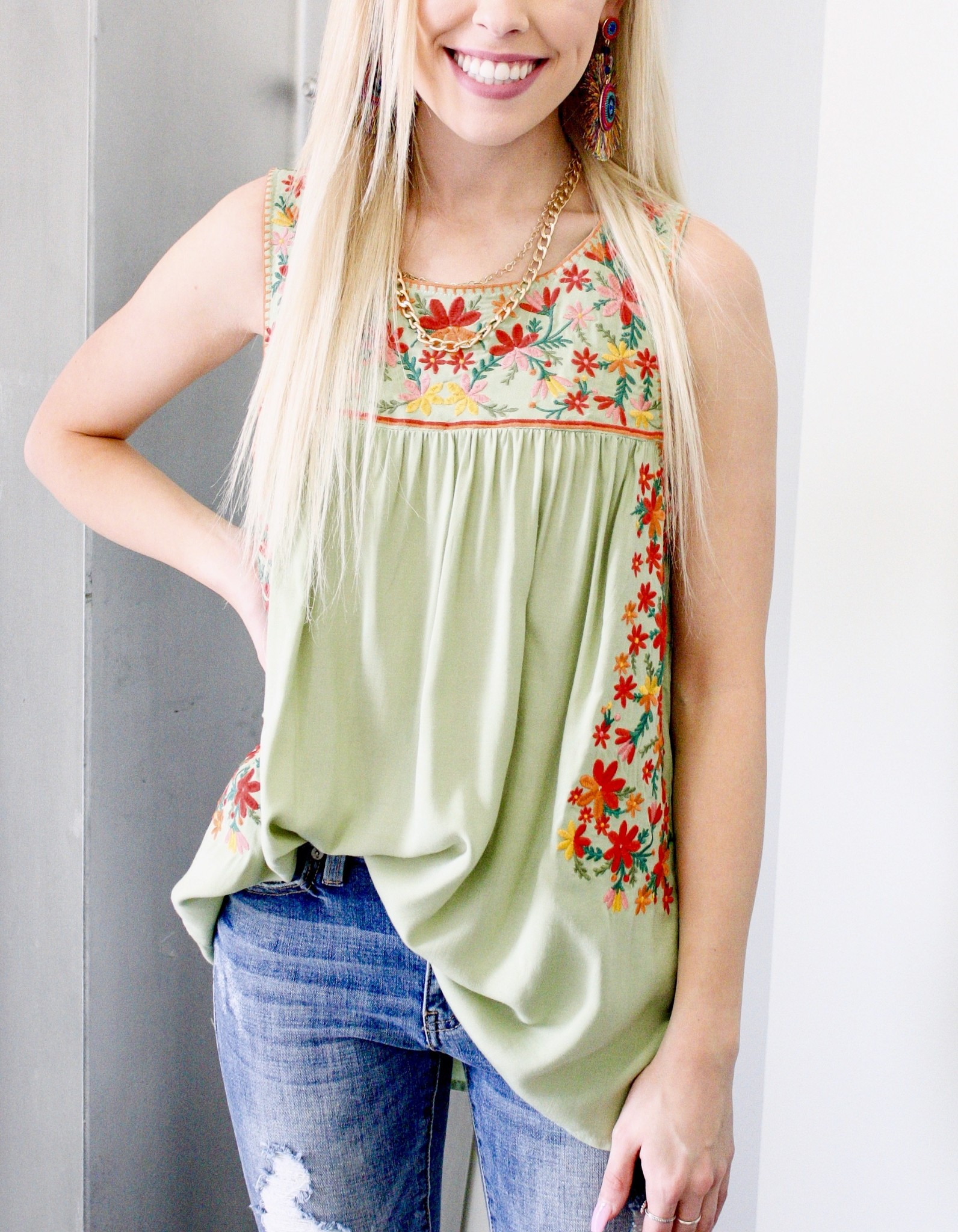 Sage Embroidered Sleeveless Top