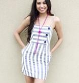 Navy Striped Button Up Dress