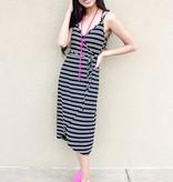 Black Striped Wrap Maxi Dress