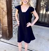 Black Ruffle Sleeve Shift Dress