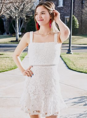 White Lace Detail Mini Dress