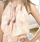 Blush/White Ruffle Detail Mini Dress