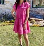 Hot Pink Button Up T-Shirt Dress