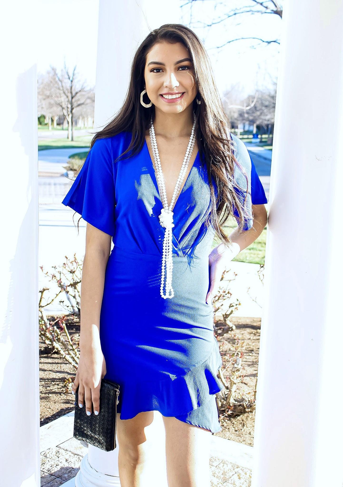 Royal Blue Flare Sleeve Dress