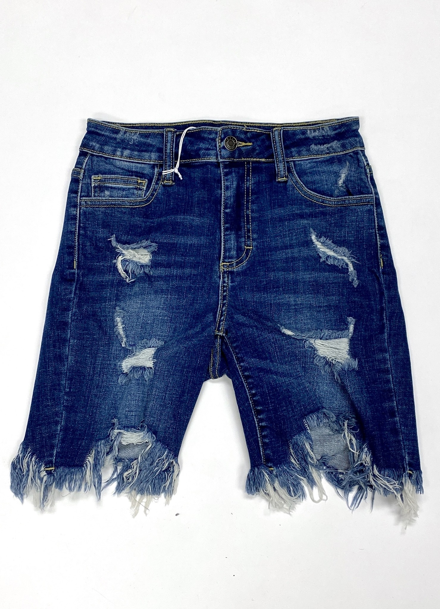 Dark Denim Distressed Bermuda Shorts
