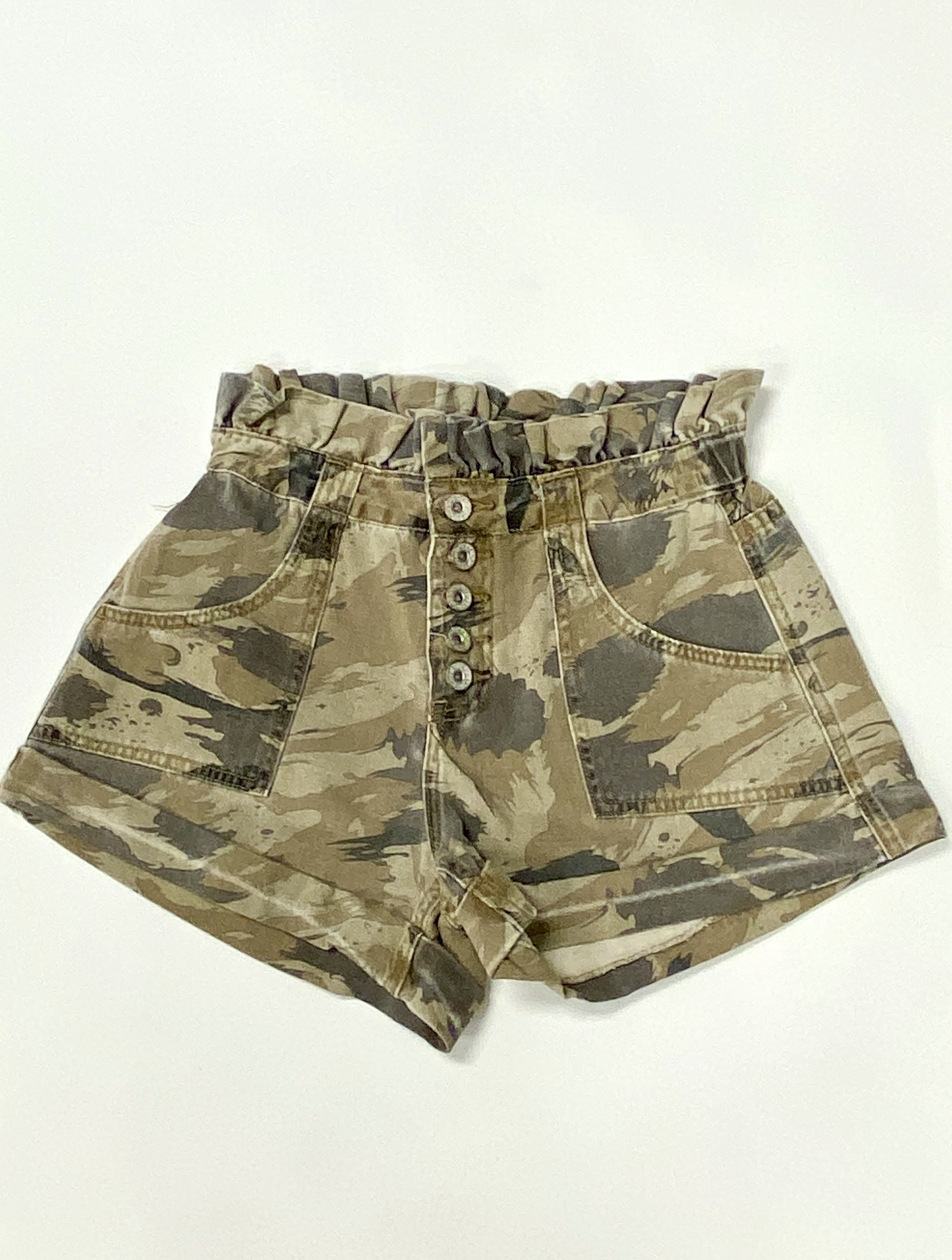 Camo Print Button Up Shorts