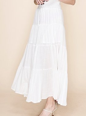 Off White Tiered Maxi Skirt