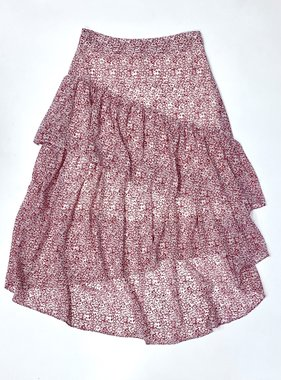 Red Asymmetrical Ruffle Skirt