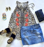 Leopard Embroidered Cami Top