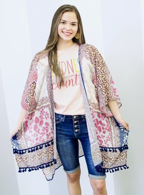 Midnight Mix Animal/Floral Print Kimono