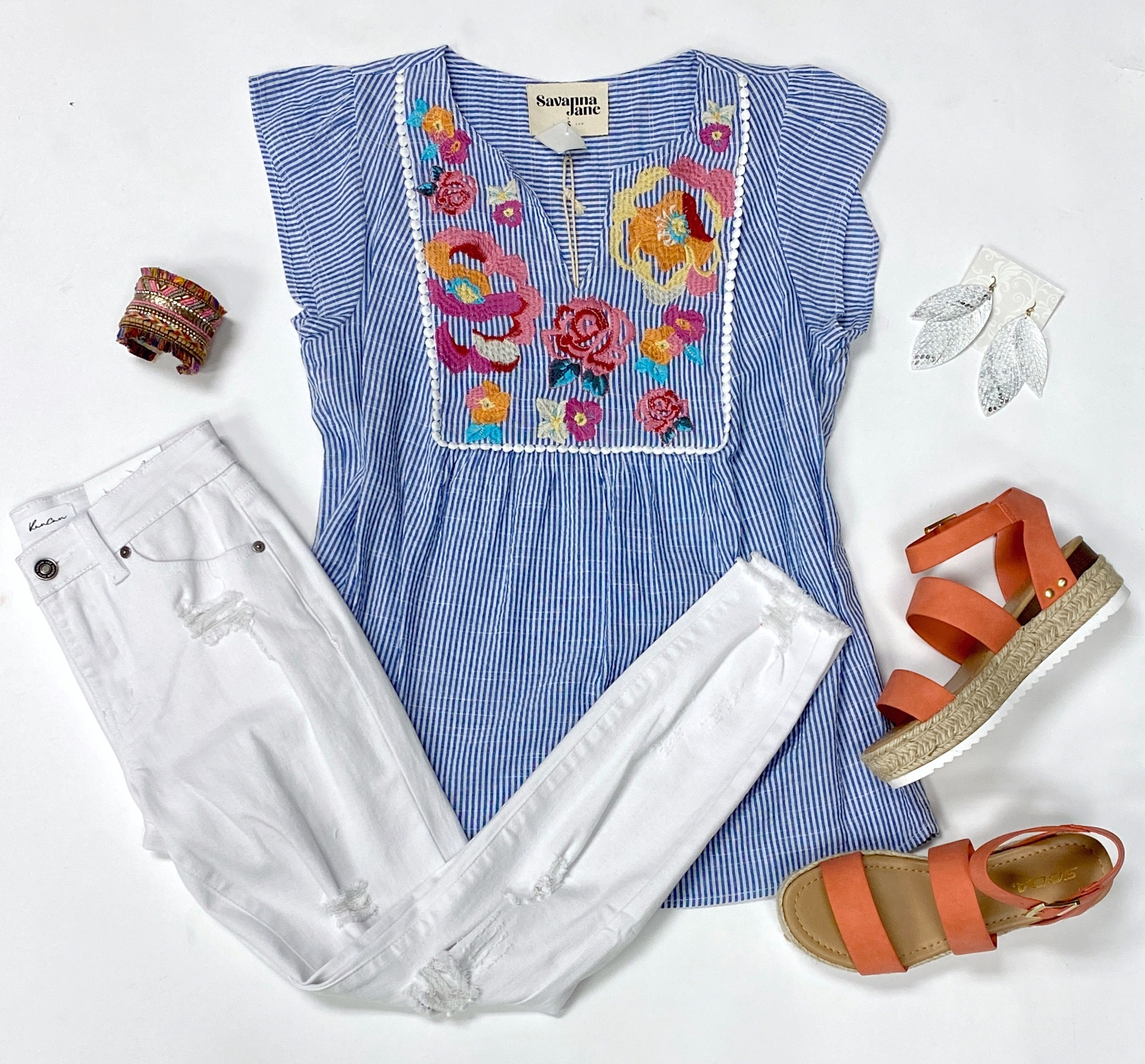 Blue Striped/Embroidered Ruffle Sleeve Top