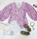 Ivory/Orchid Leopard Bubble Sleeve Top