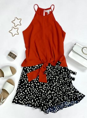 Tomato Red Cami Tie Top