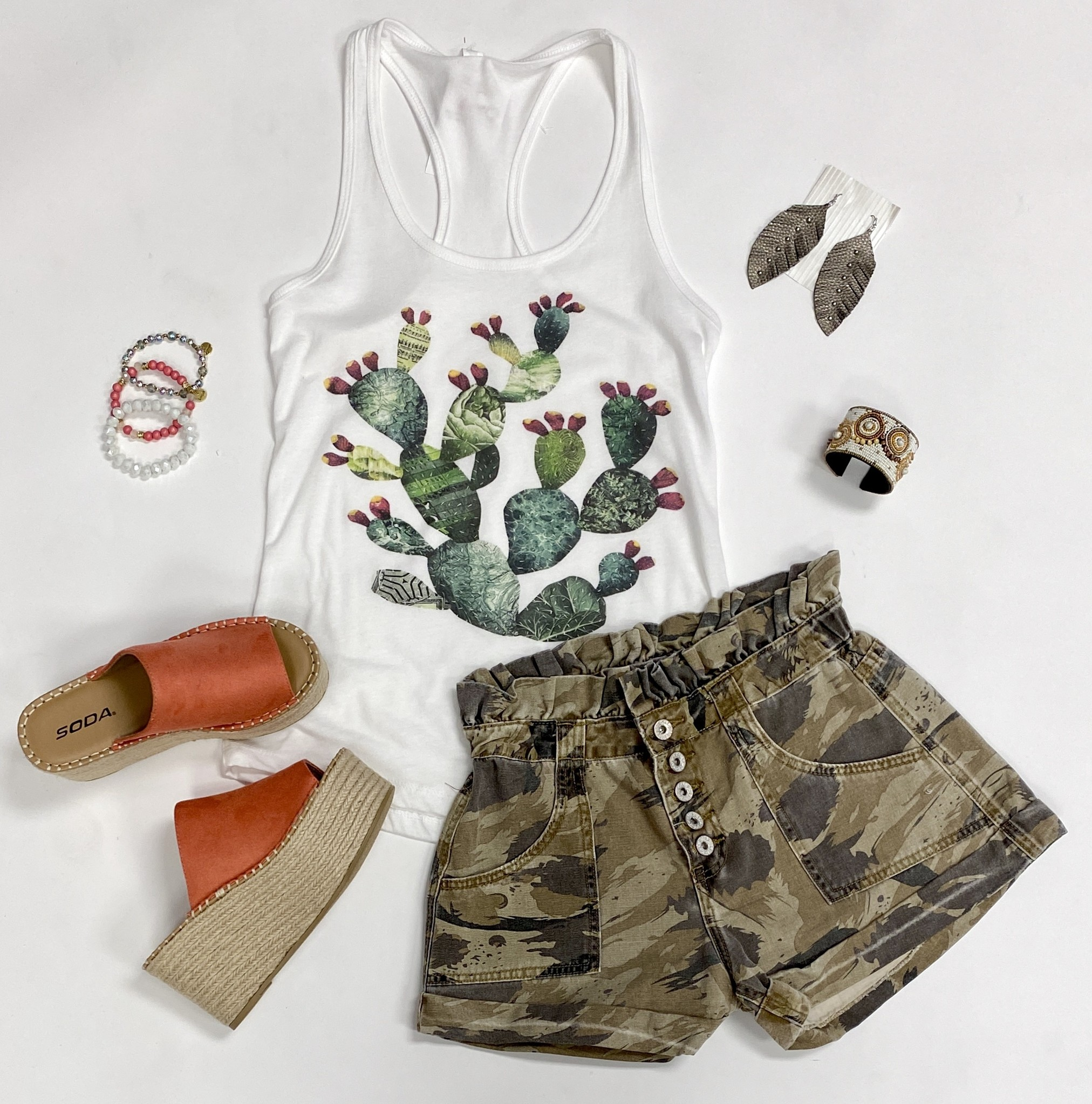 White Tank Top with Prickly Pear Cactus