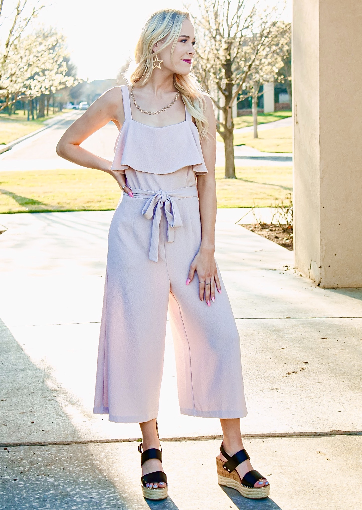 Hushed Violet Bow Jumpsuit