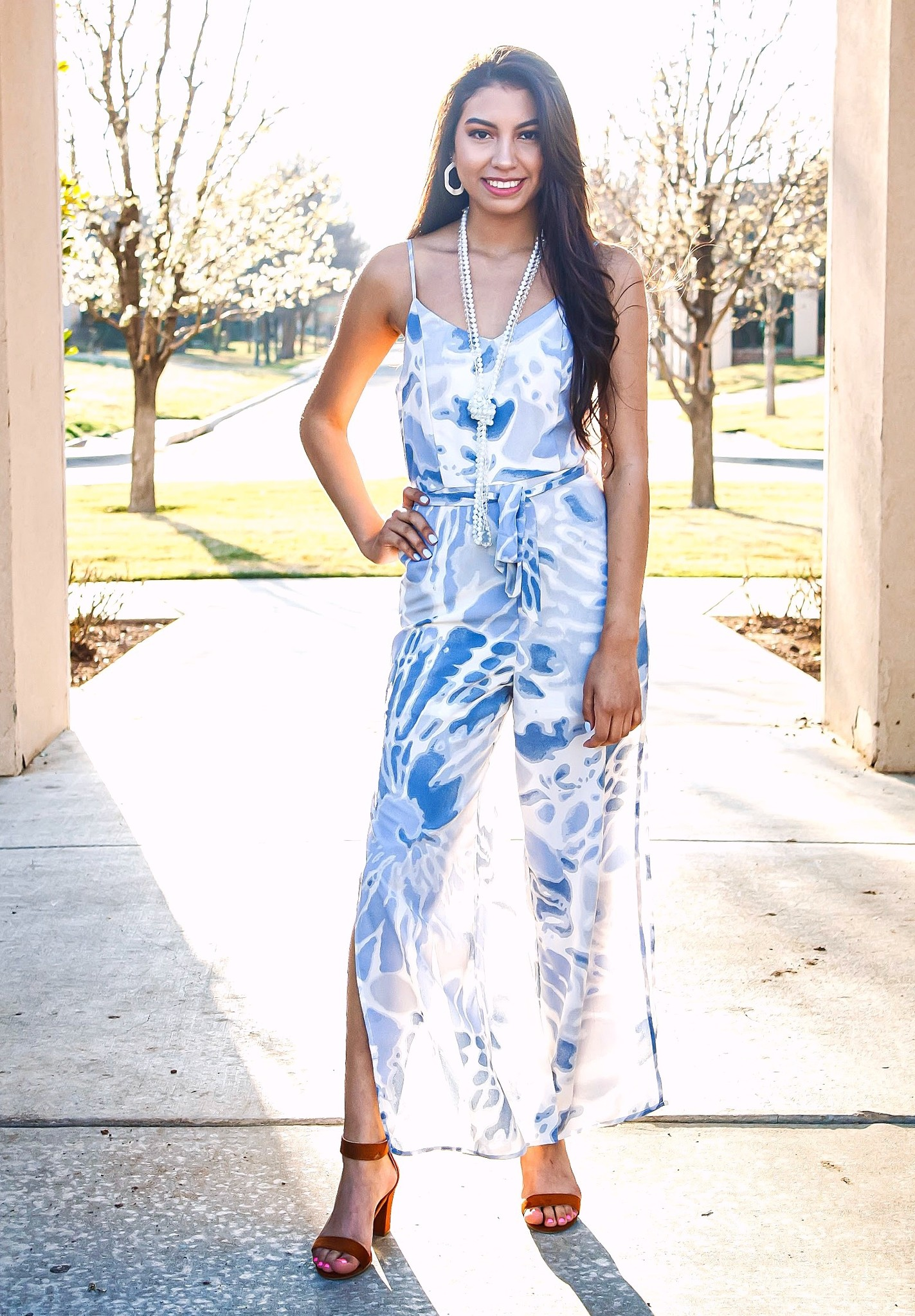 Blue/Cream Wide Leg Jumpsuit