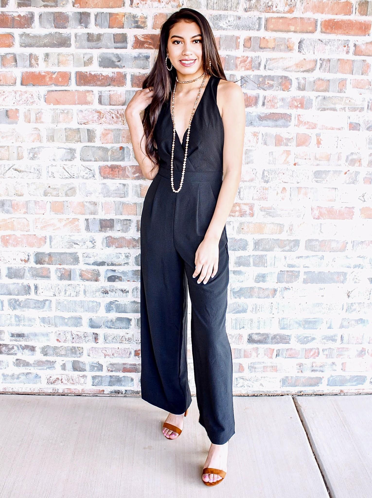 Black Sleeveless Pocket Jumpsuit