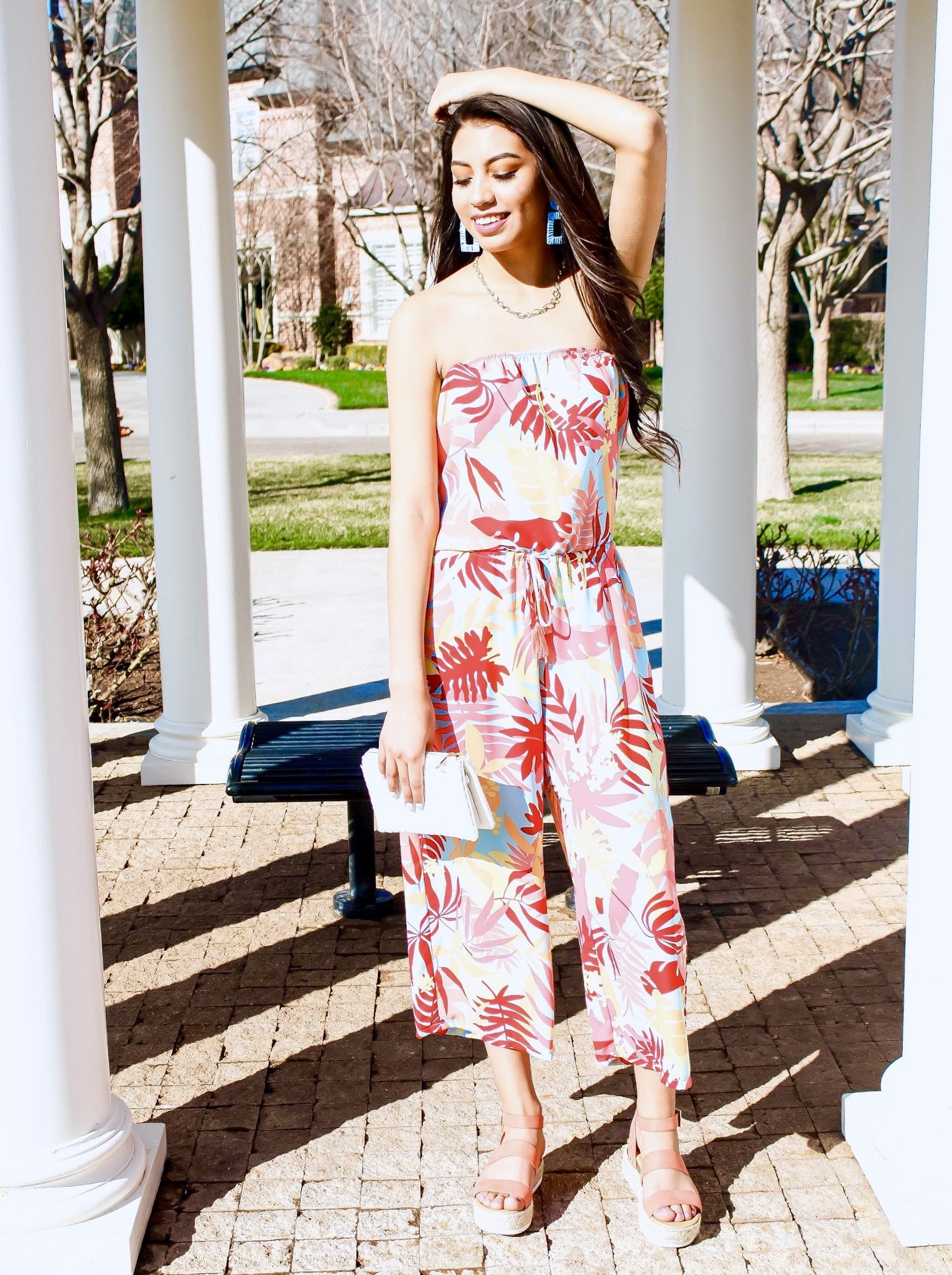 Red Multi Colored Tube Top Jumpsuit