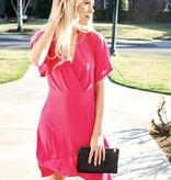Fuchsia Flare Sleeve Dress