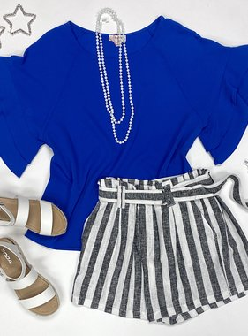 Cobalt Ruffle Sleeve Top