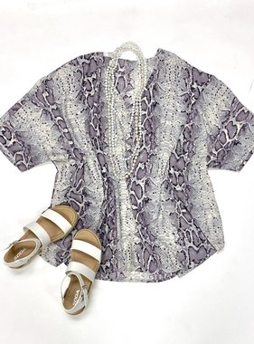 Dusty Lavender/Grey Snake Print Oversized Top