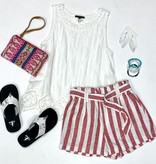 Sleeveless White Crochet Detailed Top