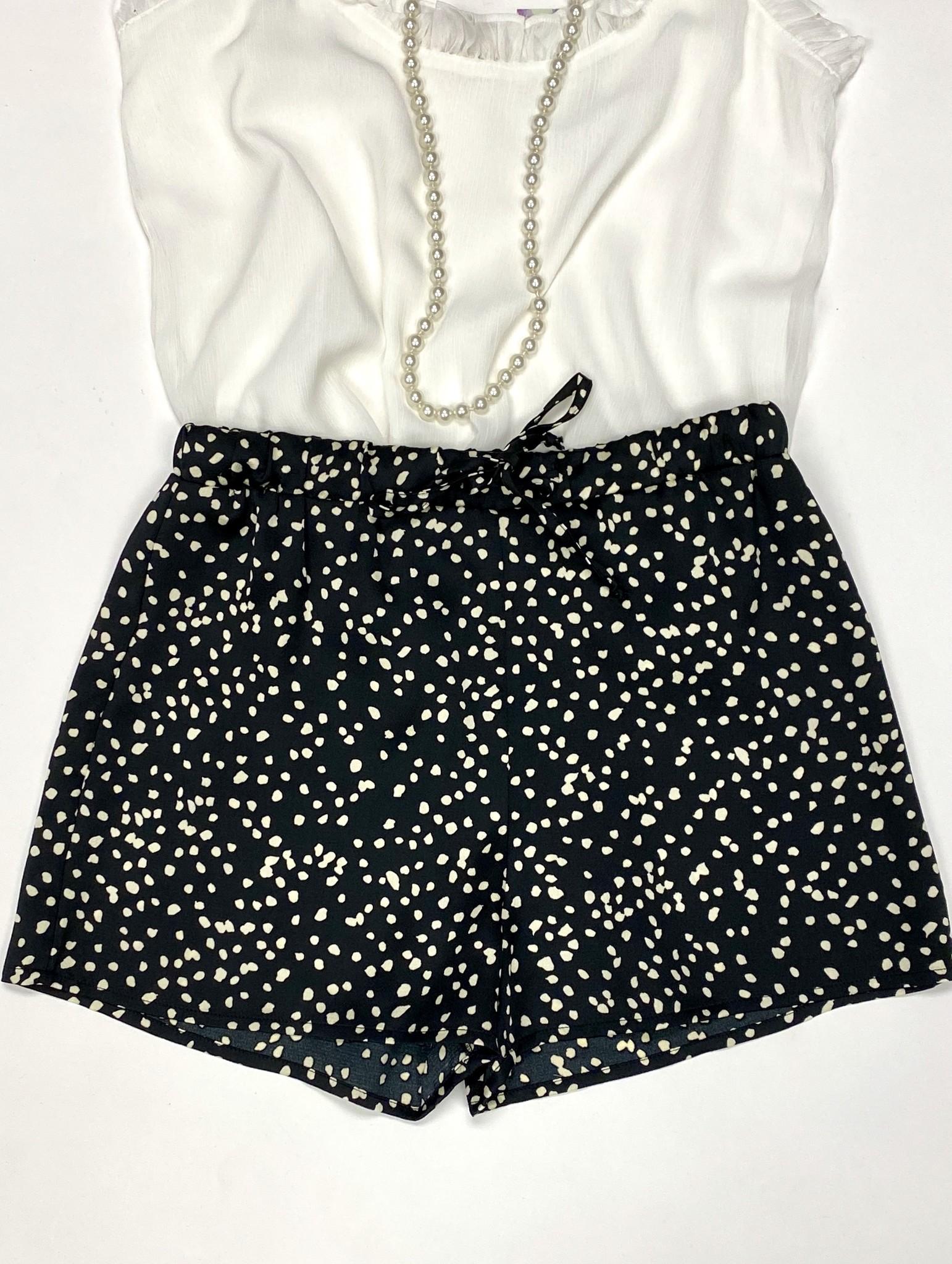 Black Leopard Satin Shorts