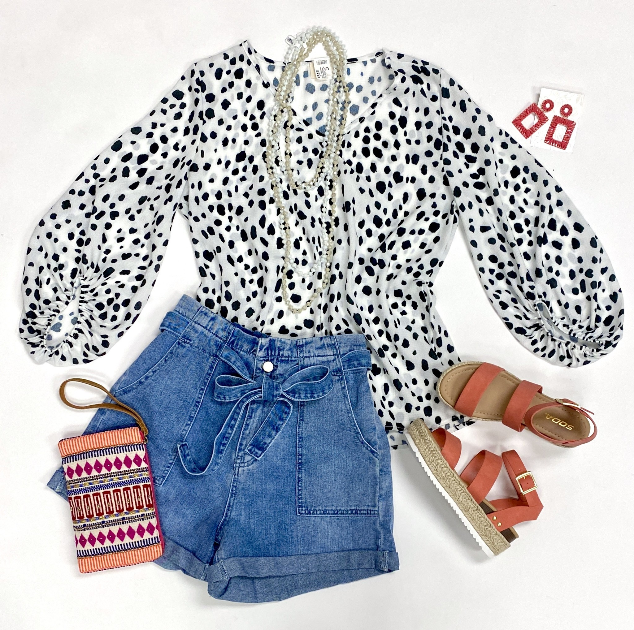 Ivory Dalmatian Bubble Sleeve Top