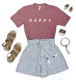 White Striped Linen Shorts