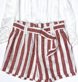 Red Linen Striped Shorts