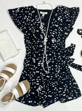 Black Spotted Ruffle Romper