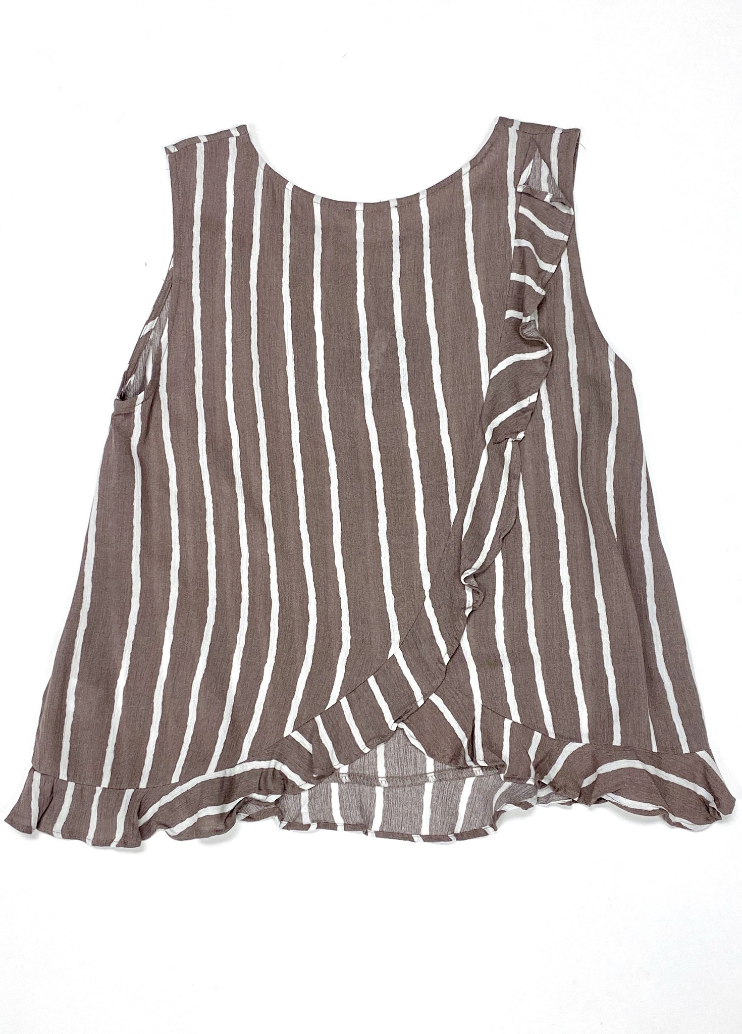 Taupe/Ivory Stripe Ruffle Detail Top
