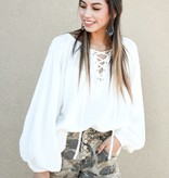 White Balloon Sleeve Peasant Blouse
