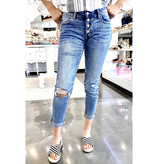 KanCan Mid Rise Distressed Girlfriend Jeans