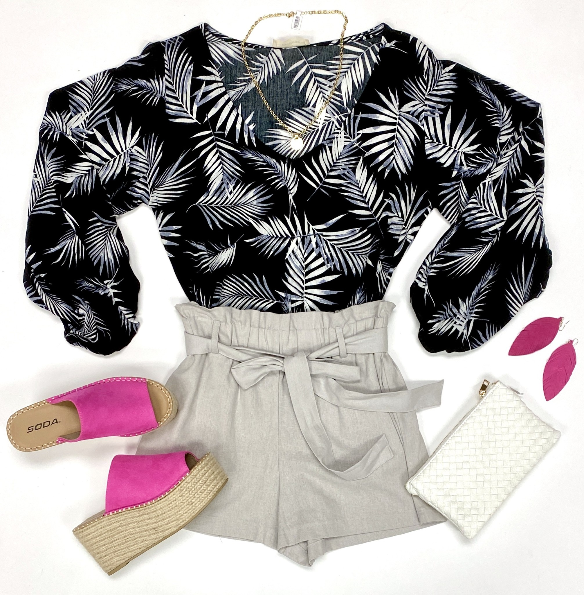 Black Tropical Print Balloon Sleeve Top