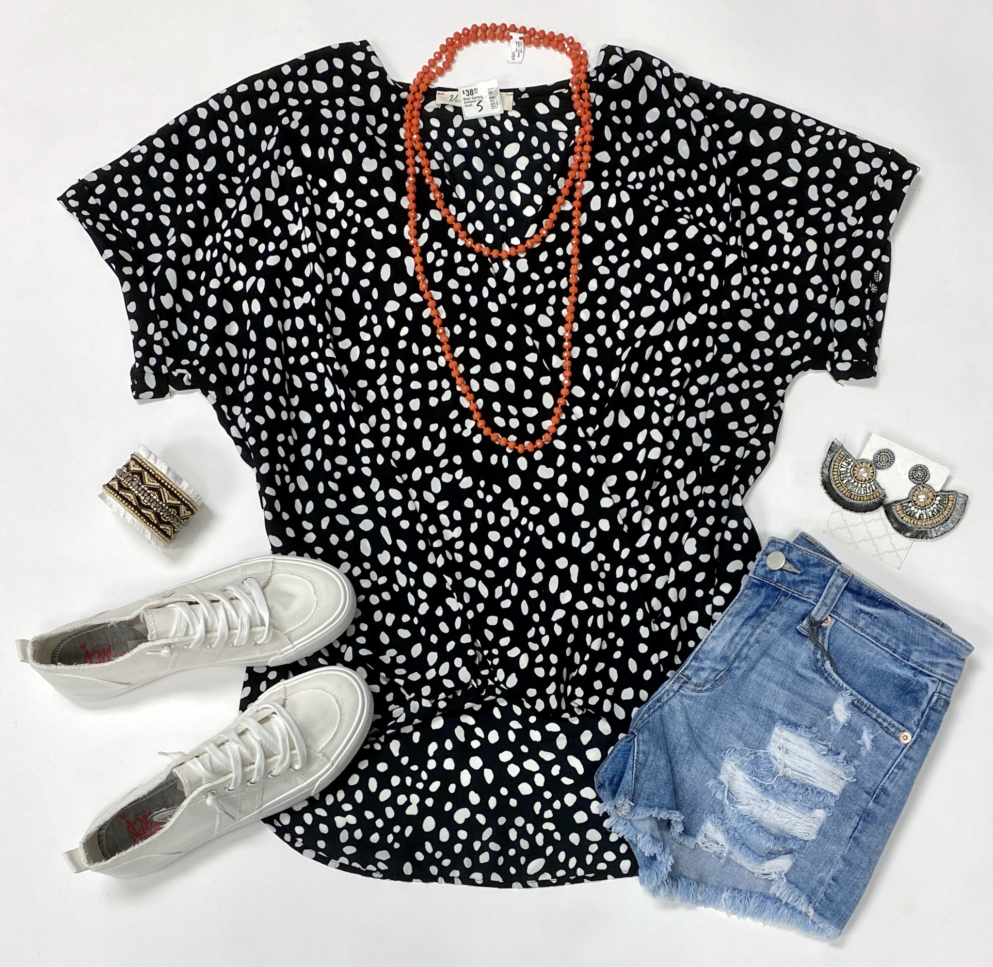 Black Spotted Gathered Top