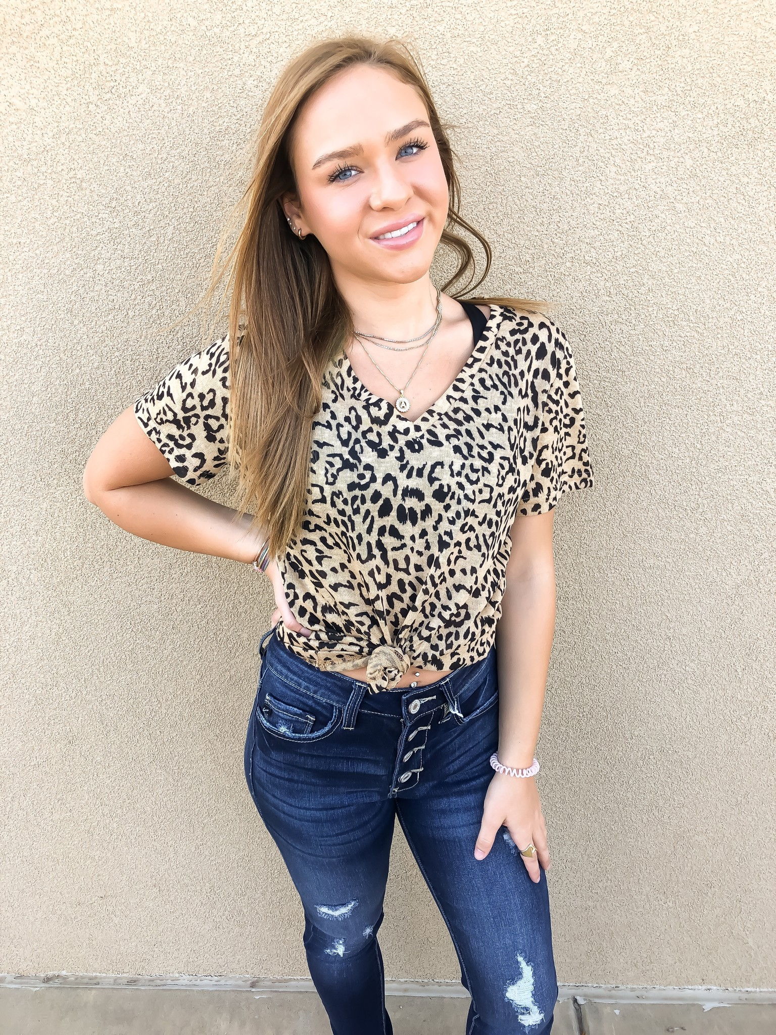 Taupe Leopard V-Neck SS Top