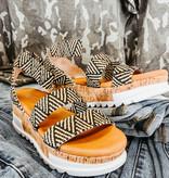 Taryn Two Strap Black/White Platform Sandal