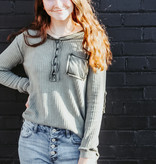 Olive LS Button Down Knit Top