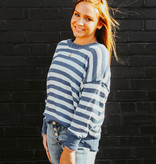 Denim Distressed Striped Sweater