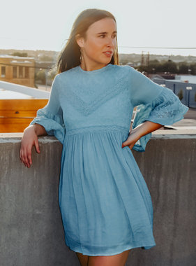 Dusty Blue Bell Sleeved Lace Dress
