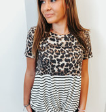 Leopard/Striped Knotted Top
