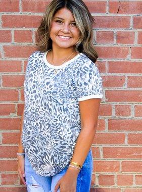 Grey Leopard Print SS Cuffed Top