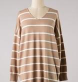 Tan Striped LS V-Neck Top